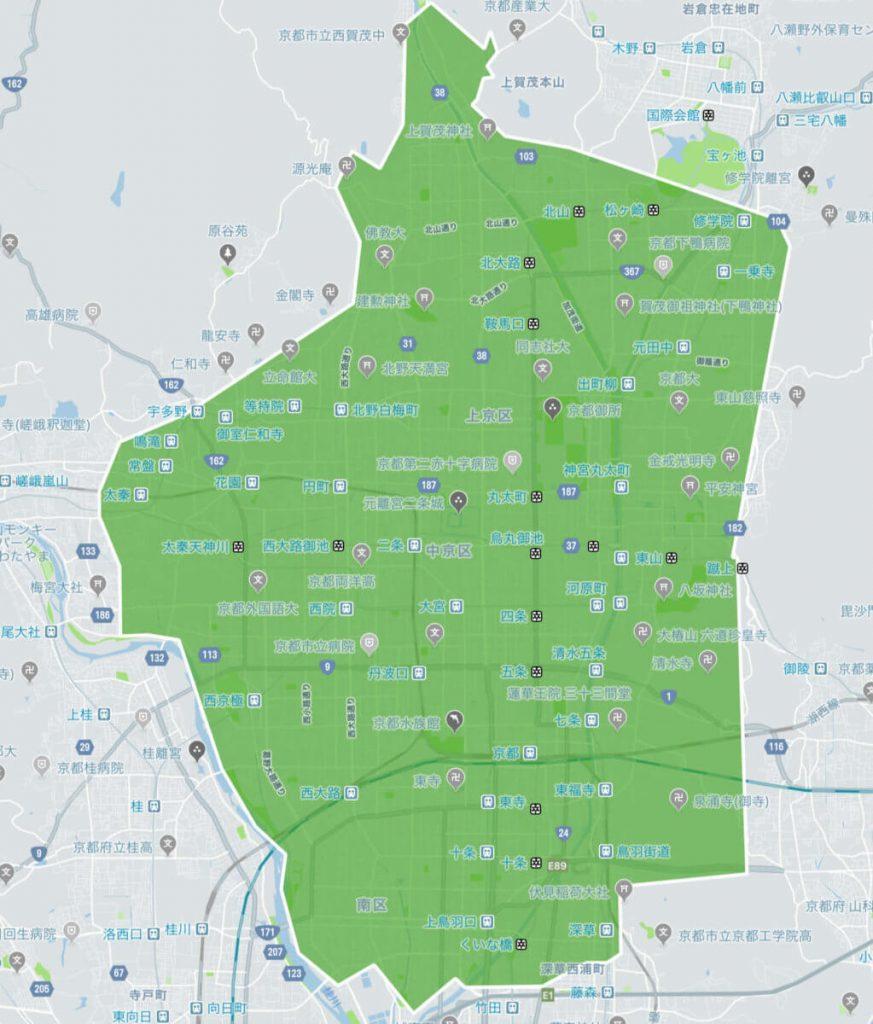 UberEats(ウーバーイーツ)京都のエリアマップ